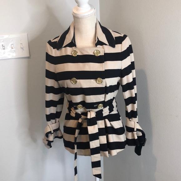 kate spade navy/cream striped jacket